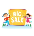 New Year Big sale background with kids vector image