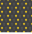 Seamless dark pattern with yellow light bulbs vector image