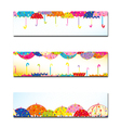 Set of Colorful Umbrella Autumn Rain Banner vector image