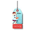 winter holiday sale tag with snowman christmas vector image