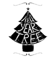 New Year Tree Retro Lettering vector image