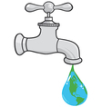 Leaking Faucet The Earth Planet Droplet vector image vector image