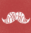 Santa vintage moustache On textured grunge red vector image