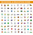 100 school and education icons set cartoon style vector image