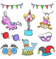 collection circus element cute doodles vector image