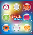 mixed half sliced fruits in air bubbles vector image