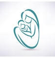 young mom hugs her baby stylized symbol vector image