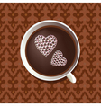 hearts in coffee cup vector image