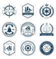 Set of Yacht Club Labels Design Elements vector image