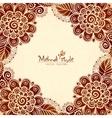 Vintage flowers ethnic frame in Indian mehndi vector image