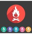 Fire icon flat web sign symbol logo label vector image