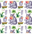 Seamless hippos and plants vector image vector image