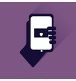 Flat web icon with long shadow phone in hand vector image