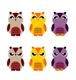 colored cute owls set of flat icon vector image