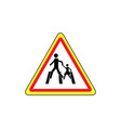 crosswalk sign black in red triangle vector image