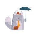 cute businessman cat with briefcase standing under vector image