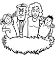 family nest cartoon coloring page vector image