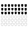 Large set of shields isolated on white background vector image