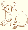 lying cow with big horns vector image
