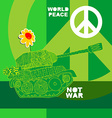 No war Postcard poster hippie background world vector image