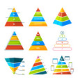 set of different triangles and pyramids with vector image