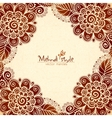 Vintage flowers ethnic frame in Indian mehndi vector image
