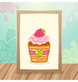 Wood frame on the desk with doodles and cupcake vector image