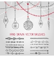 Christmas garland brushes set with balls vector image