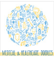 Health care hand drawn background vector image
