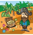 Fun cartoon pirate with treasure vector image