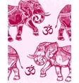 Seamless pattern with elephants and Ohm sign vector image