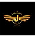 Letter J winged crests logo Alphabet logotype vector image