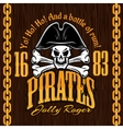 Skull in pirate hat - design for badges logos vector image