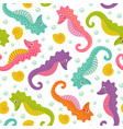 seamless pattern with cute sea horse vector image
