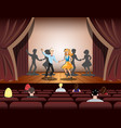 couple dancing on theatre stage vector image