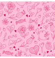 doodle valentine seamless pattern vector image