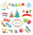 Set colorful objects of carnival party birthday vector image vector image