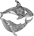 Zentangle stylized Sea Shark and Whale Hand Drawn vector image