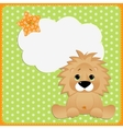 Cute template for postcard with lion vector image