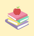 stack of books and apple school supplies il vector image