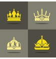 Yellow crown icons with shadow vector image