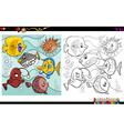 fish characters coloring page vector image