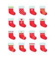 set of red christmas socks christmas stocking vector image