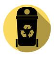 trashcan sign   flat black vector image