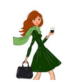 fashionable cute girl in cravat and green dress vector image