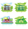 set of landscapes with modern houses family home vector image