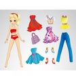 Paper Fashion Red Blonde Doll vector image