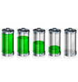 glossy green battery vector image
