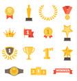 awards icons set flat design vector image