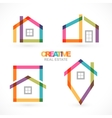 Creative house abstract real estate icons set vector image